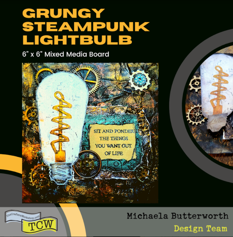 Image of the completed Steampunk Grungy Lightbulb artwork, mixed media artwork.